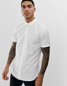 Белая приталенная оксфордская рубашка с короткими рукавами BOSS-Белый