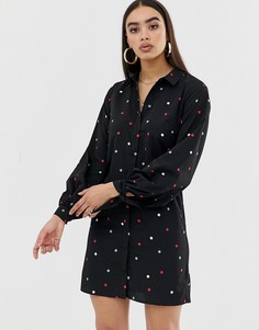 Платье-рубашка в горошек с завязками на рукавах Fashion Union-Мульти