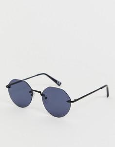Черные солнцезащитные очки с оригинальным дизайном без оправы ASOS DESIGN-Черный