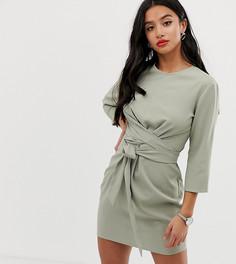 Платье мини с запахом и длинным поясом ASOS DESIGN Petite-Зеленый
