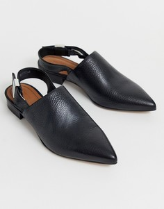 Черные туфли на плоской подошве с острым носом и ремешком через пятку ASOS DESIGN-Черный