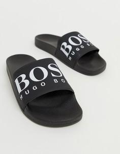 Черные шлепанцы с логотипом BOSS-Черный