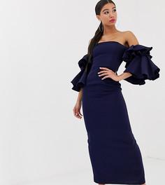 Темно-синее платье макси с открытыми плечами и крупными оборками на рукавах Yaura-Темно-синий