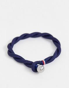 Темно-синий плетеный браслет Tommy Hilfiger
