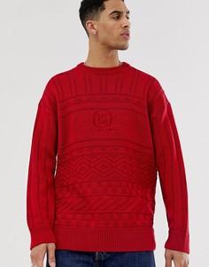 """Красный джемпер с круглым вырезом и вышивкой \USA\"""" New Look"""