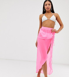 Неоново-розовое пляжное парео со сборками ASOS DESIGN Tall-Розовый