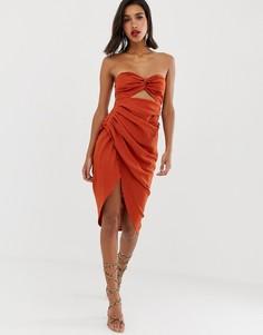 Льняное платье миди с ремешками на спине ASOS EDITION-Коричневый