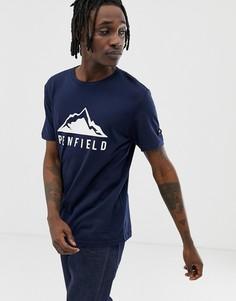 Темно-синяя футболка с круглым вырезом и принтом на груди Penfield-Темно-синий
