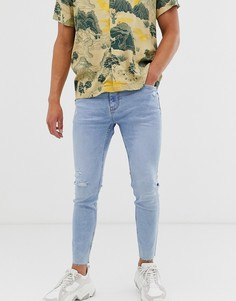 Голубые джинсы скинни Bershka-Синий