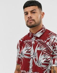 Красная рубашка с короткими рукавами и принтом Jack & Jones Essentials-Красный
