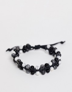 Браслет в два ряда с бусинами из полудрагоценного камня ASOS DESIGN-Черный