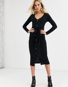 Черное платье миди на пуговицах с поясом New Look-Черный