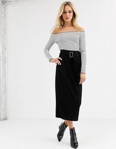 Удлиненная юбка-карандаш с поясом ASOS DESIGN-Черный