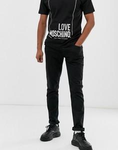 Джинсы скинни с металлическим логотипом Love Moschino-Черный