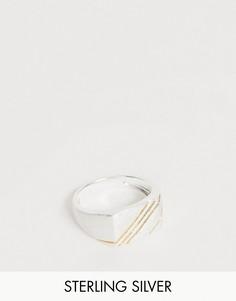Серебряное кольцо с отделкой из 14-каратного золота ASOS DESIGN-Серебряный