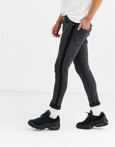 Зауженные джинсы с полосками по бокам Brave Soul-Серый