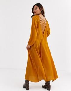 Платье миди с ремешками на спине Free People Later Days-Оранжевый