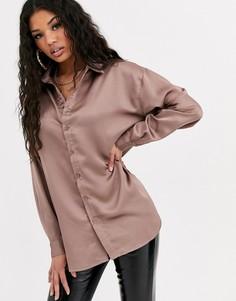 Бежевая атласная oversize-рубашка Missguided-Фиолетовый