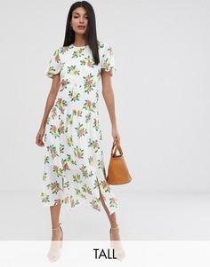 Платье миди с принтом фруктов Fashion Union Tall-Белый