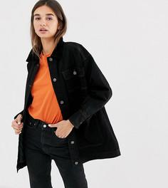 Черная удлиненная джинсовая куртка со стеганой отделкой и вельветовым воротником Monki-Черный