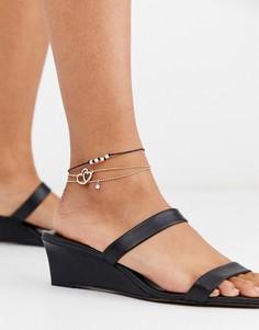 Набор из 3 золотистых браслетов на ногу с подвесками ASOS DESIGN-Золотой