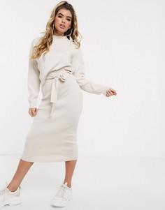 Вязаная юбка песочного цвета из комплекта Missguided-Бежевый