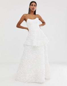 Белое свадебное платье с квадратным вырезом Bariano-Белый