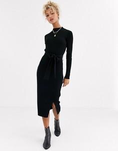 Черное трикотажное платье макси с поясом New Look-Черный