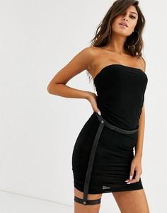 Черное платье мини со сборками и подкладкой-боди Lemon Lunar-Черный