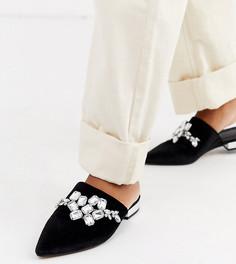 Черные туфли на плоской подошве для широкой стопы с отделкой ASOS DESIGN - Verona-Черный