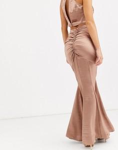 Комбинируемая атласная юбка макси с годе ASOS DESIGN-Розовый