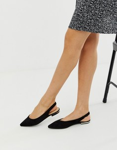 Черные туфли на плоской подошве с ремешком через пятку RAID Agatha-Черный