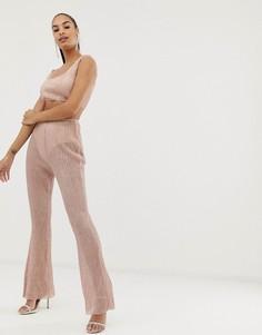 Плиссированные брюки с пайетками Club L-Розовый