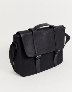 Черная сумка сэтчел из парусины и искусственной кожи с двумя ремешками ASOS DESIGN-Черный