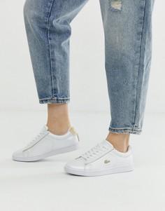 Белые кроссовки с золотистой отделкой Lacoste Carnaby Evo 118-Белый