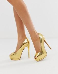 Золотистые туфли на высоком каблуке и платформе со змеиным принтом ASOS DESIGN Playful-Золотой