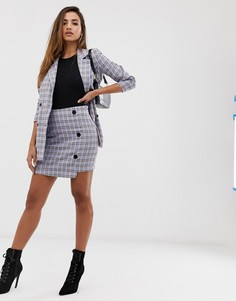 Комбинируемая синяя мини-юбка в клетку Missguided-Мульти
