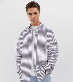 Оксфордская oversize-рубашка в полоску и с заниженной линией плеч COLLUSION-Белый