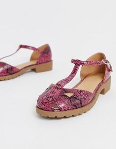 Розовые туфли на плоской подошве со змеиным узором ASOS DESIGN Micha-Розовый