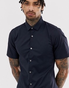 Однотонная эластичная рубашка с короткими рукавами French Connection-Темно-синий