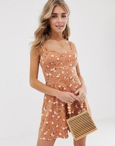 Летнее платье мини на пуговицах с цветочным принтом и завязкой сзади ASOS DESIGN-Мульти
