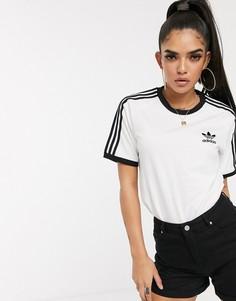 Белая футболка с тремя полосками adidas Originals adicolor-Белый