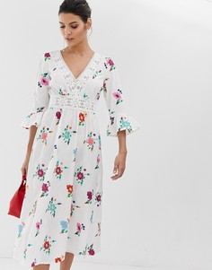 Платье миди с вышивкой и рукавами клеш ASOS DESIGN-Белый