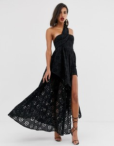 Платье с вышивкой ришелье и накладкой в виде юбки-макси ASOS EDITION-Черный