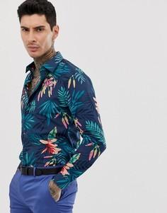 Хлопковая приталенная рубашка с длинными рукавами и тропическим принтом Devils Advocate-Синий