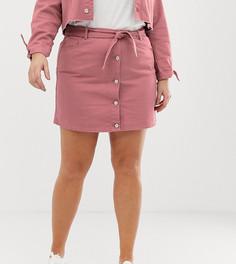 Джинсовая мини юбка-трапеция с поясом на талии Urban Bliss Plus-Медный