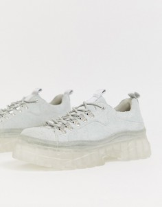 Серые замшевые туфли на шнуровке с толстой подошвой ASOS DESIGN-Серый