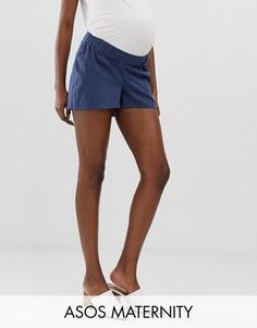 Повседневные шорты с посадкой под животом и молнией ASOS DESIGN Maternity-Темно-синий