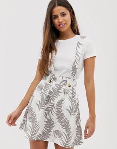 Мини-юбка с подтяжками и принтом пальм ASOS DESIGN-Мульти