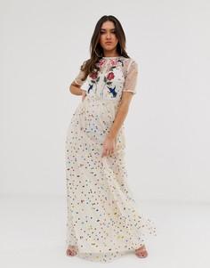 Платье макси в разноцветный горошек с вышитыми цветами и птицами Frock And Frill-Мульти